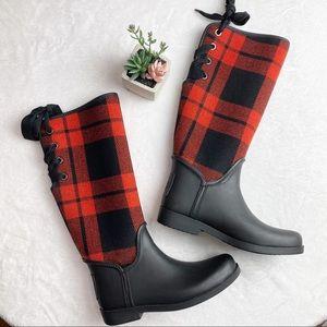 Coach Red & Black Plaid Lace Up Rain Boots Sz 9